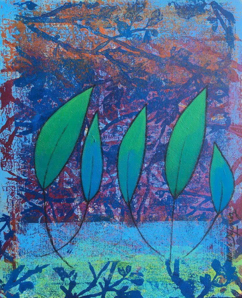 Harmonie du Printemps Acrylique et fusain 55 x 46 cm 420€